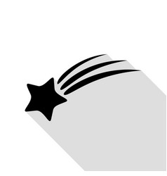 shooting star sign black icon with flat style vector image vector image