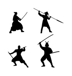 The set of warriors silhouette on white background vector