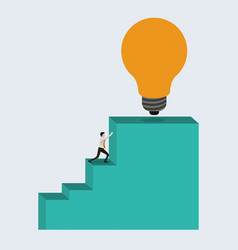 White background with businessman pushing stair vector