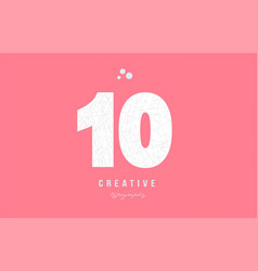 10 pink white number logo icon design vector