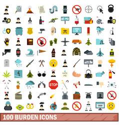 100 burden icons set flat style vector image