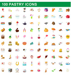 100 pastry icons set cartoon style vector image