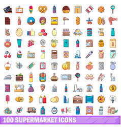 100 supermarket icons set cartoon style vector