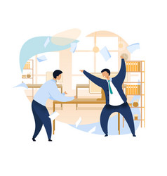 Angry boss shouting at employee clipart vector