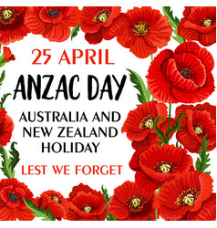 anzac day lest we forget poppy memory card vector image