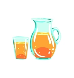 Apple Juice Pitcher And Glass Funky Hand Drawn vector image