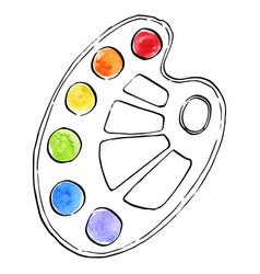 art palette with paints vector image