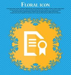 Award File document Floral flat design on a blue vector image