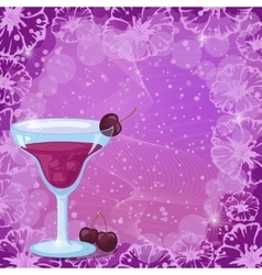 Background with Cocktail Cherry and Flowers vector