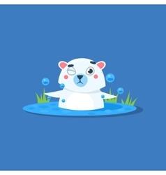 Bathing In Ice-hole Polar Bear vector