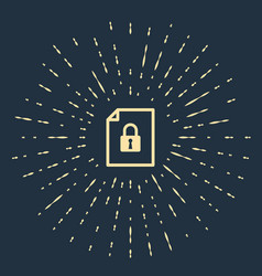 Beige document and lock icon isolated on dark blue vector