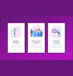 big data healthcare app interface template vector image