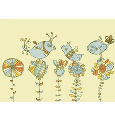 Birds on flowers vector