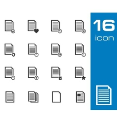 black document icons set on white background vector image