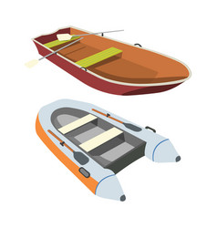 Boat and raft flat icon vector