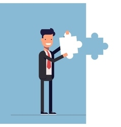 Businessman or manager puts the last piece of the vector image
