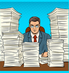 businessman with piles of papers pop art vector image