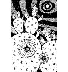 cactus - flower black and white ink vector image