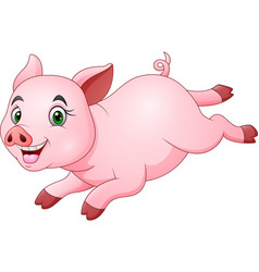 cartoon happy pig running vector image