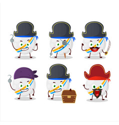 Cartoon white stripes marbles with various pirates vector