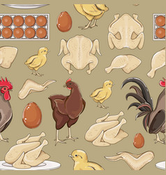 chicken icons pattern vector image