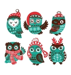 Christmas collection with cute little owls in vector