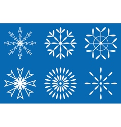Christmas - Set of white snowflakes icon vector