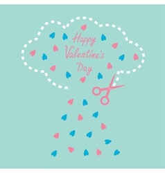 Cloud with hearts and scissors Valentines Day vector image