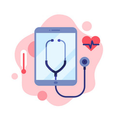 Contemporary service with online medical vector