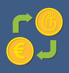 Currency exchange Euro and Tamil Rupee vector