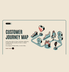 Customer journey map isometric banner purchasing vector