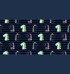 cute dinoasaur doodle style seamless pattern hand vector image