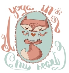 Cute fox enjoys the yoga vector image