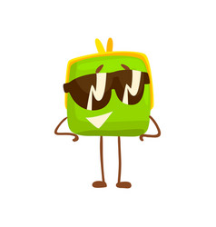 Cute purse character wearing sunglasses funny vector