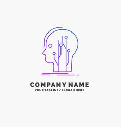 Data head human knowledge network purple business vector