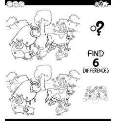 Differences color book with farm animal characters vector