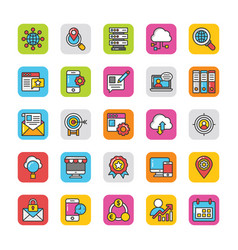 digital and internet marketing icons set 3 vector image