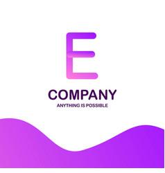 e company logo design with purple theme vector image