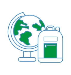 Earth plenet desk with study bag vector