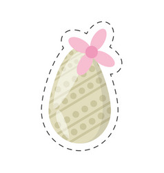 easter egg decoration and flower - cut line vector image