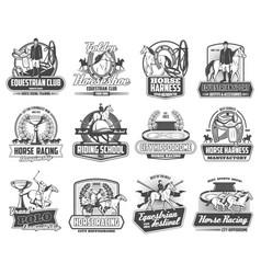Equestrian club horse races polo sport emblems vector