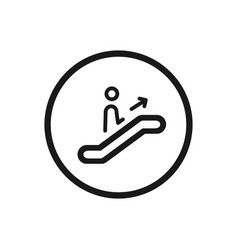 escalator icon with climb stairs symbol on a vector image