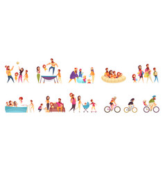 family active holidays cartoon set vector image
