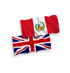 Flags great britain and peru on a white vector