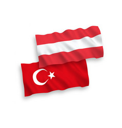 Flags of turkey and austria on a white background vector