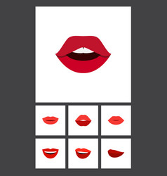 flat icon lips set of teeth smile lipstick and vector image