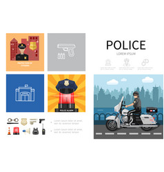flat police infographic concept vector image