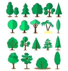 Flat tree set isolated on white background vector image