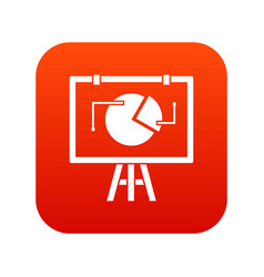 Flip chart with statistics icon digital red vector