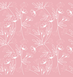 flowers seamless pattern leaves vector image